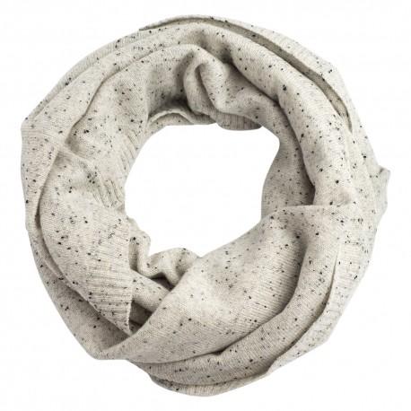 Schlauchschal aus weiß meliertem Kaschmir