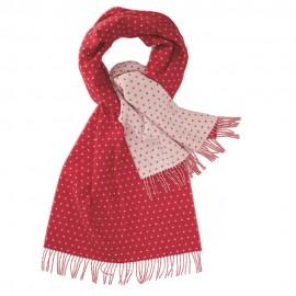 Doppelseitiger Schal mit Punkten in Rot und Weiß