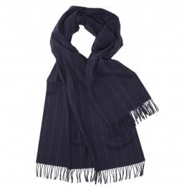 Großer blauer Schal mit dünnen Streifen