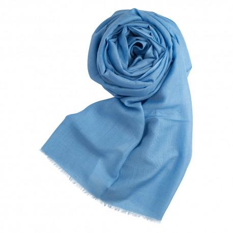 Hellblauer Pashmina Schal aus Kaschmir und Seide