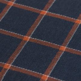 Blaues Tuch mit orange Karos aus Kaschmir/Wolle