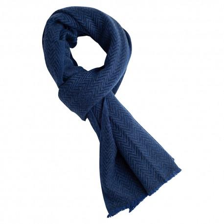 Blaues Kaschmir/Woll Tuch mit Zick-Zack Muster