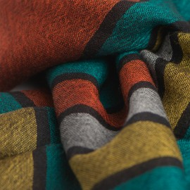Schwarze Pashmina Stola mit farbigen Streifen