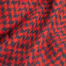 Cashmere Schal in marineblau / rotem Hahnentritt