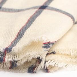 Weißes Tuch mit blauen Karos aus Kaschmir/Wolle