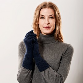 Marinblaue Kaschmir-Handschuhe