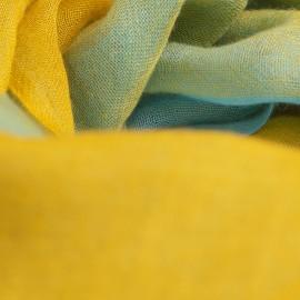 Karierter Kaschmir-Schal Senfgelb / Blau