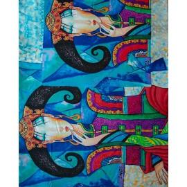 Kaschmir-Schal mit Druck in blauen Tönen