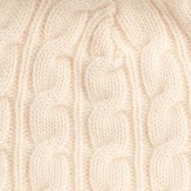 Cremeweiße Pom Pom Mütze aus Kaschmir