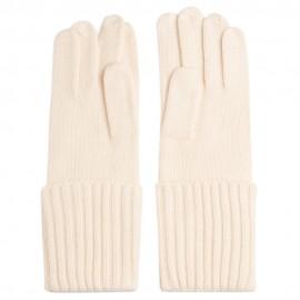 Cremeweiße gestrickte Kaschmir-Handschuhe