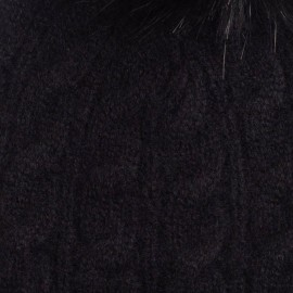 Blaue meliertes Pom Pom Mütze aus Kaschmir
