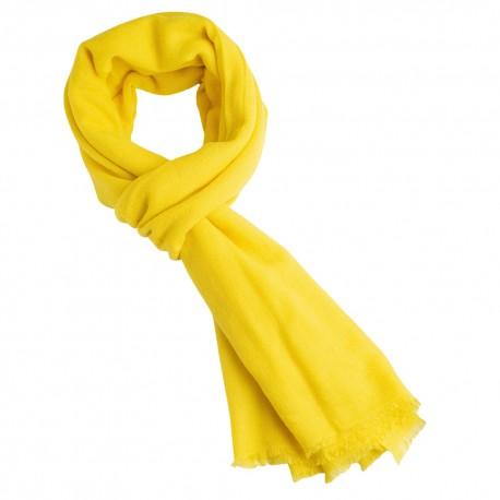 Handgewebtes Pashmina-Tuch in gelber Twillwebart