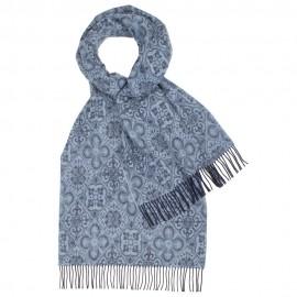Blau gemusterter Tuch aus Lammwolle