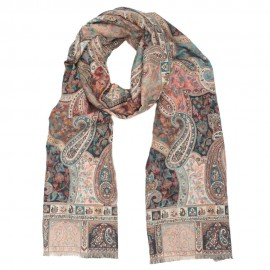 Grau / rosa Schal mit Paisley-Muster