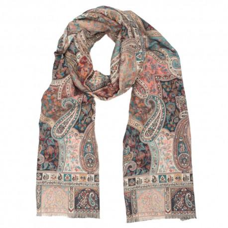 Grau / rosa Schal mit Paisley-Muster