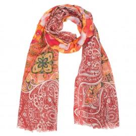 Rot gemusterter Schal aus Wolle und Seide