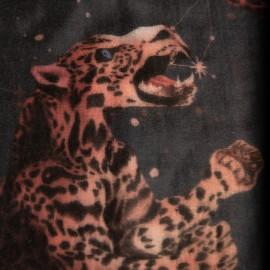 Kaschmirschal mit Stern- und Leopardenmuster