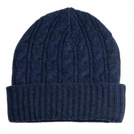 Indigofarbene Mütze aus Merino / Kaschmir