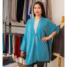 Türkiser Kimono aus Merino / Kaschmir-Strick