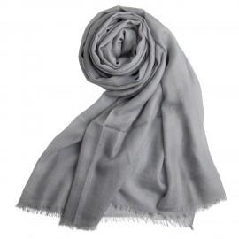 Hellgrauer extra großer Schal aus Kaschmir