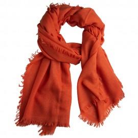 Orangefarbener Schal aus handgewebter Kaschmir