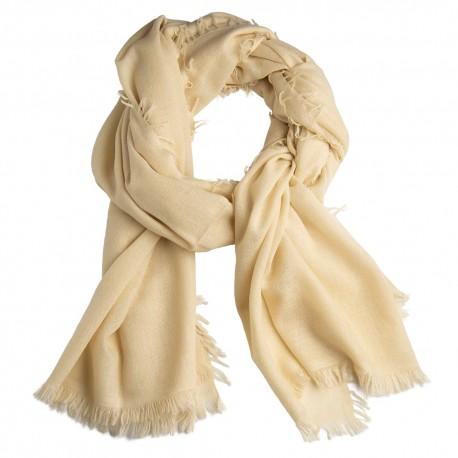 Cremefarbener Schal aus handgewebter Kaschmir