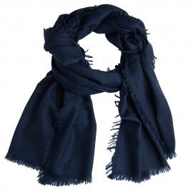 Navy Schal aus handgewebter Kaschmir