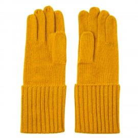 Curryfarbene gestrickte Kaschmir-Handschuhe