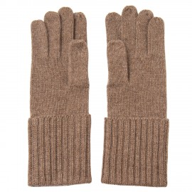 Taupegraue, gestrickte Kaschmir-Handschuhe