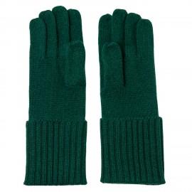 Flaschengrüne, gestrickte Kaschmir-Handschuhe