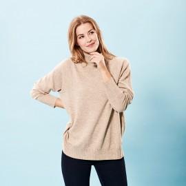Beige oversize Kaschmir-Pullover