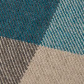 Handgewebtes kariertes Plaid in Blau, Beige und Grau