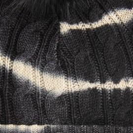 Kaschmir-Mütze in Schwarz/Weisß Tie-Dye