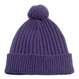 Violette Strickmütze aus Kaschmir