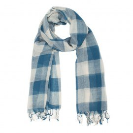 Kariertes blau-weißes Tuch aus Wolle