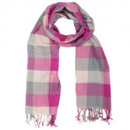 Kariertes, grau-rosafarbenes Tuch aus Wolle