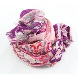 Modal/Kaschmir-Schal in rosa und violettem Muster