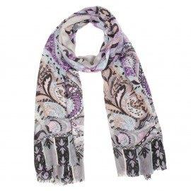 Modal/Kaschmir-Schal in violett und grauem Muster