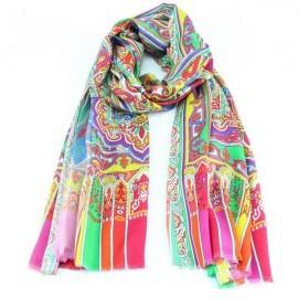 Tørklæde i violet, rødt og grønt mønster