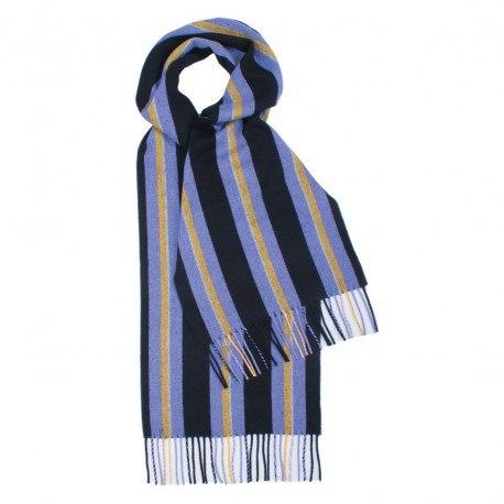 Violett und schwarz gestreiftes Tuch aus Lammwolle