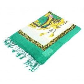 Grünes Tuch mit Druck aus Seide und Wolle