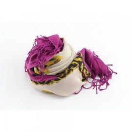 Lila Tuch mit Druck aus Seide und Wolle
