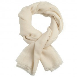 Cremeweißer Jacquard Pashmina-Schal aus reinem Kaschmir