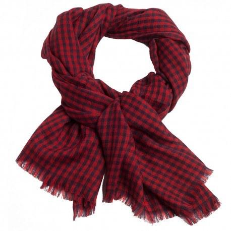 Små rutig pashmina sjal i röd och navy