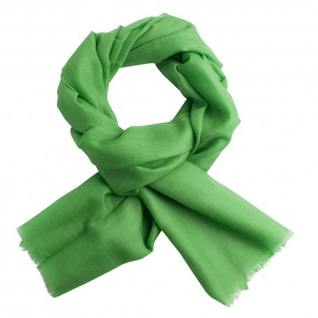 Grasgrüner Pashmina-Schal in Leinwandbindung