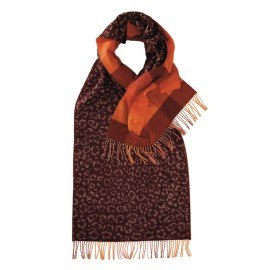 Rotbraunes Halstuch mit Tierdruck und Karos