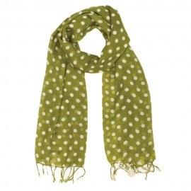 Lindgrünes Tuch mit weißen Punkten