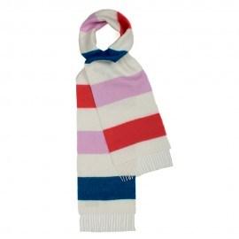 Cremeweißes Halstuch mit Streifen in pink/rot/blau