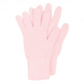 Rosa Strickhandschuhe aus Lammwolle