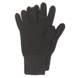 Schwarze Strickhandschuhe aus Lammwolle